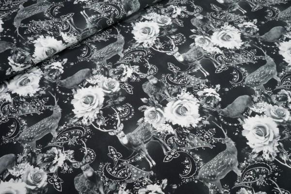 Jersey Digitaler Fotodruck Hirsch Blumen schwarz weiß Baumwoll Jersey