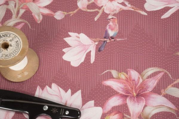 Baumwollsatin Blüten rosa auf altrosa