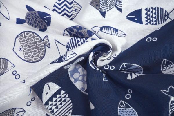 Deko Jacquard Wendestoff Fische weiß blau Baumwollstoff