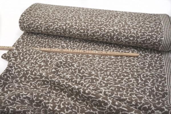 Strickjacquard aus reiner (Merino-) Wolle • Ranke in braun/beige • Doubleface