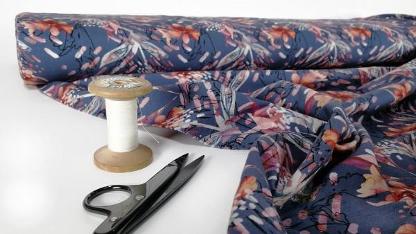 Baumwoll Jersey digital Druck Blumen stilisiert auf jeansblau
