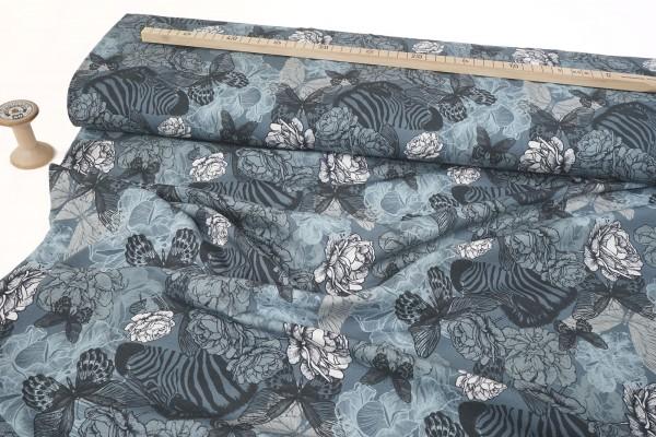 Baumwolljersey Rosen Schmetterlinge und Zebras auf stahlblau by Stenzo