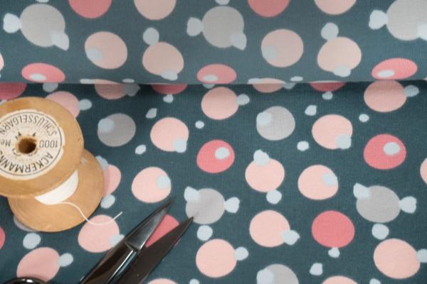 Jersey Stenzo Kreise Punkte hellblau rosa grau auf dunkelblau by Stenzo Baumwoll Jersey