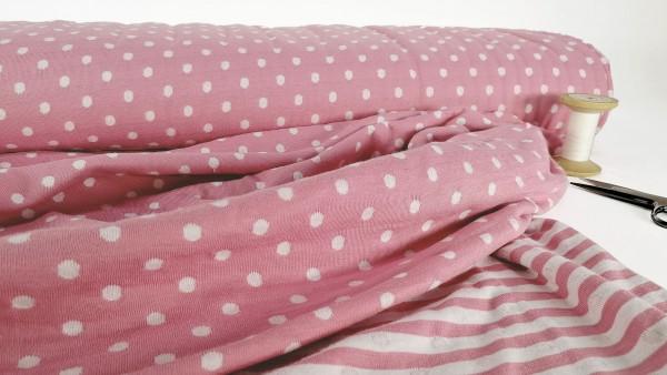 Jersey Double-Face • Punkte und Streifen • weiß auf rosa