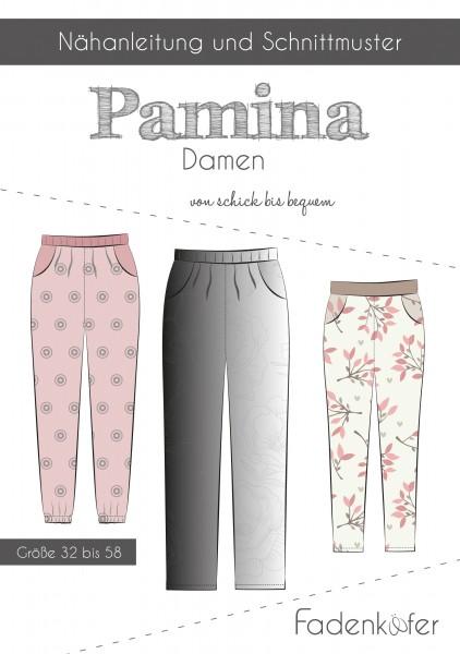 Hose Pamina Damen,Papierschnitt,Fadenkäfer,Deckblatt mit Skizzen von Kleid