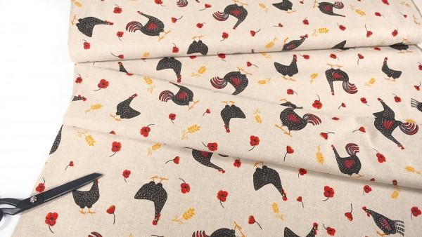 Deko-Stoff • Hühner und Mohn • beige
