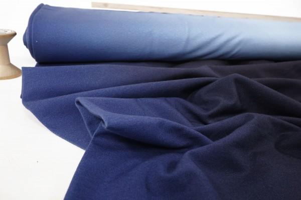 French Terry • unaufgeraut • ombre • blauer Farbverlauf