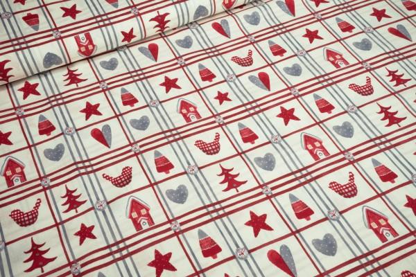 Baumwollstoff Weihnachten rote graue Bäume und Herzen auf natur