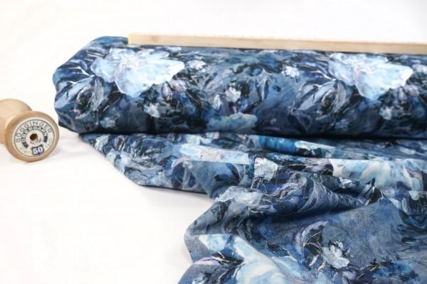 French Terry leicht angeraut Blumen blau