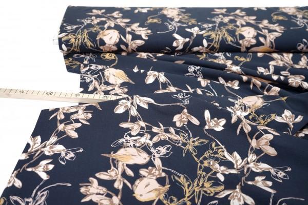 Baumwolljersey • Vögel und Blüten • Avalana • dunkelblau