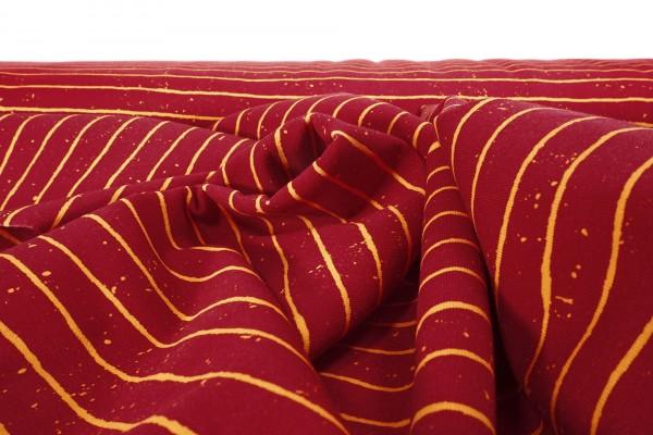 Baumwoll French Terry unaufgeraut Streifen gelb auf rot by Stenzo