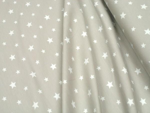 Jersey Little Darling Sterne hell-beige auf beige