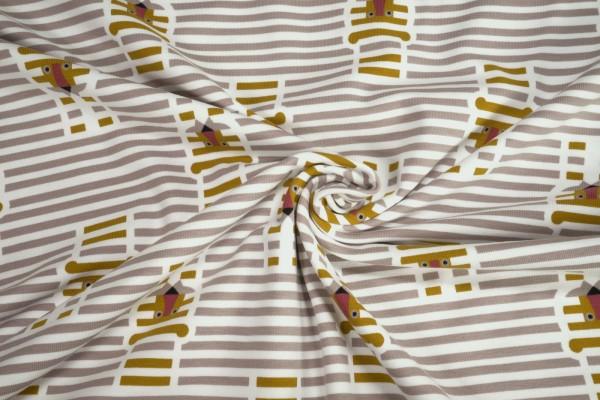 Jersey BioBaumwoll Jersey Streifen Tiger beige weiß gestreift