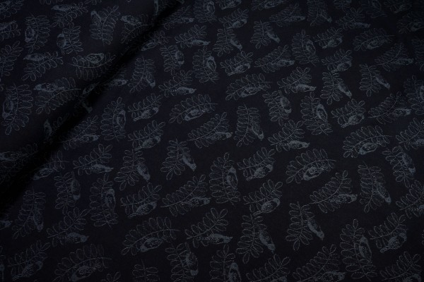 Jacquarddenim Jeans Vogel auf Zweig dunkel blau