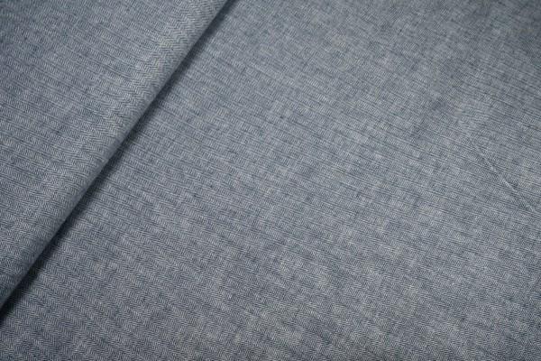 Leinen-Baumwollmischung Fischgrat dunkelblau weiß
