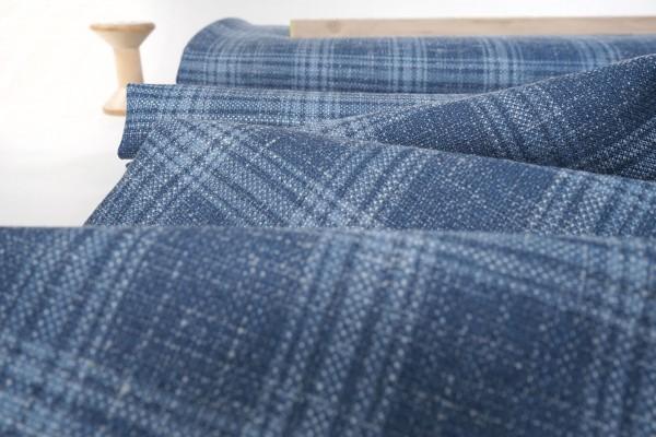 Wollmischung mit Seide und Leinen • Karo • blau/hellblau