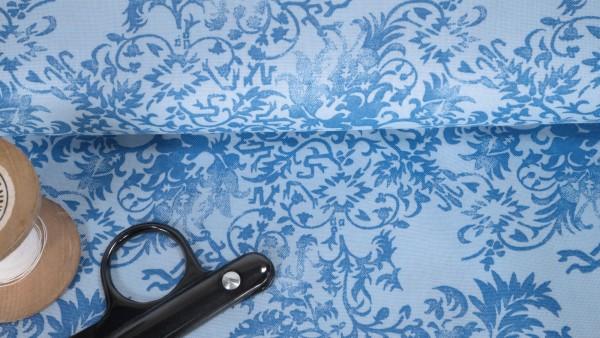 Baumwoll Stoff Druck Ornamente blau auf hellblau by Klaranähta