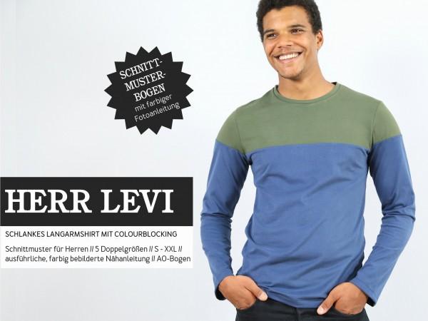 HERR LEVI • Langarmshirt mit Colourblocking, Papierschnitt, Deckblatt