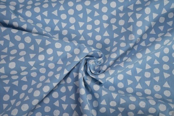 Baumwollstoff Kreise Dreiecke weiß auf hellblau