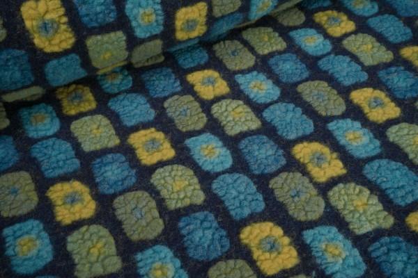 Wollwalk Musterwalk mit Baumwolle Rechtecke petrol senf grün auf dunkelblau
