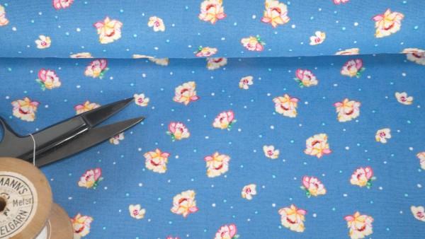 Baumwollstoff Druck Blüten Punkte auf blau by Klaranähta