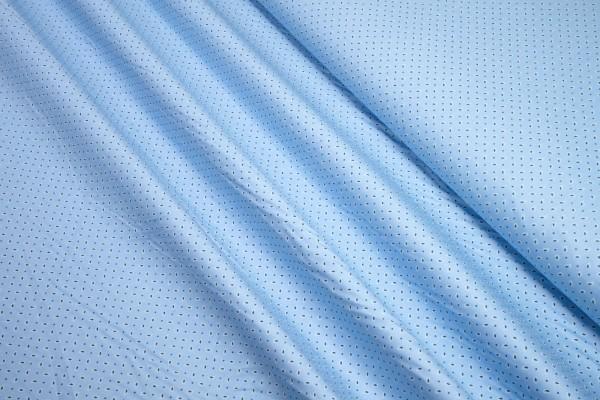 Baumwollstoff mini Paisley und Punkte schwarz auf hellblau