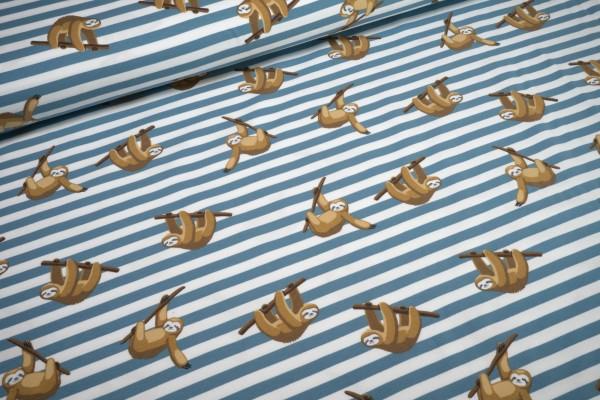 Jersey Faultier am Ast auf blau weiße Streifen Baumwoll Jersey
