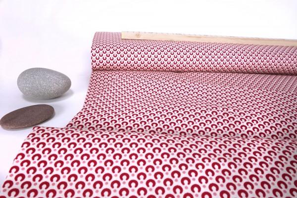 Baumwoll Stoff Mini Hufeisen bordeaux Punkte rosa auf weiß