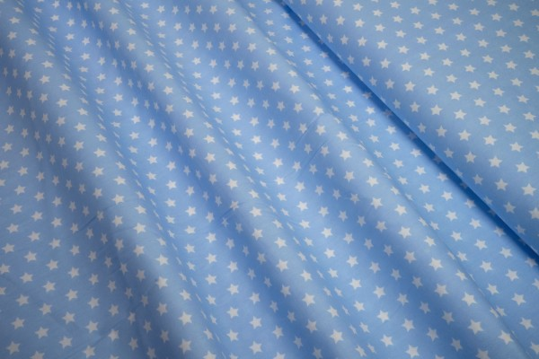 Baumwollstoff Sterne weiß auf hellblau