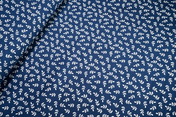 Baumwolle Popeline Zweige weiß auf marine
