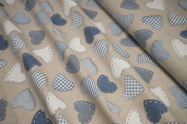 Deko-Stoff blau weiße Herzen auf natur Baumwollstoff
