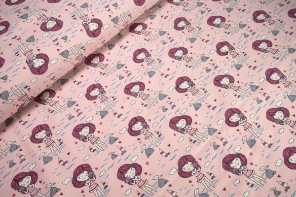 Baumwoll Jersey Strandmädchen beere auf rosa