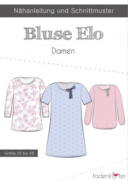 Bluse Elo Damen,Papierschnitt,Fadenkäfer,Deckblatt mit Skizzen von Kleid