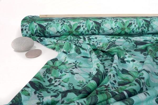 Viskose Jersey Blumen mintgrün