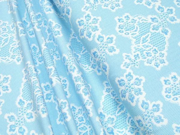 Jersey Blüten hellblau auf weiß Baumwoll Jersey