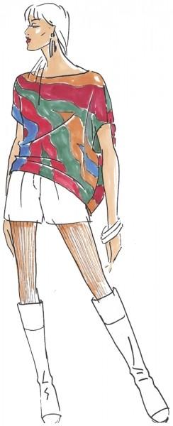Bluse Bea Damen, Papierschnitt