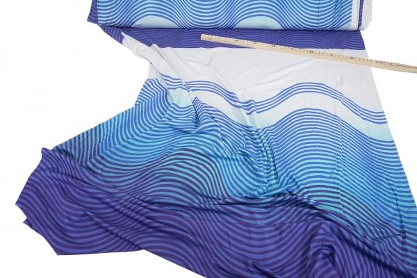 Viskosejersey • Panel • Waves • multiblau 1 Stck.