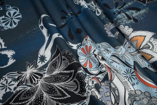 BIO Baumwollstoff C. Pauli soft Popeline fein Octopus und Blumen