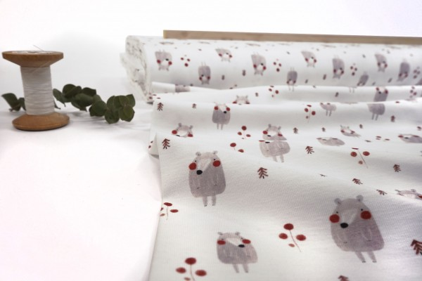 Baumwolljersey • Kleiner Bär mit roten Wangen