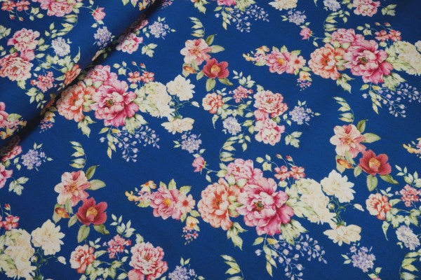Baumwoll-Satin stretch Blumenprint auf blau