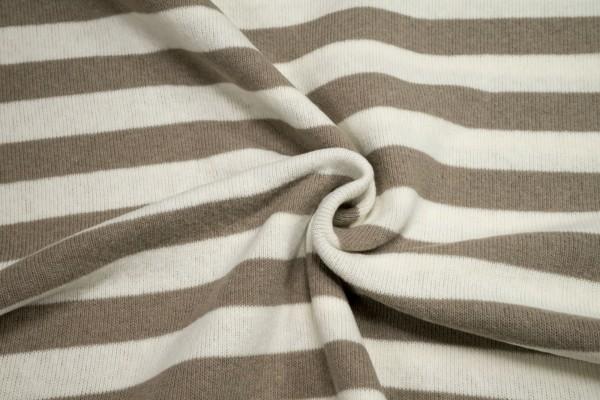 Strickstoff Lenn angeraut Streifen beige naturweiß Baumwolle made in Italy