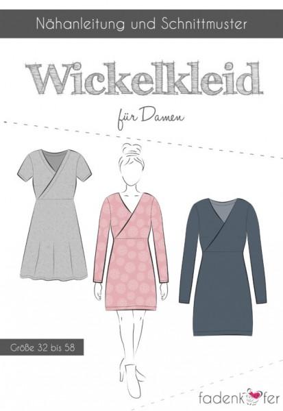 Wickelkleid Damen,Papierschnitt,Fadenkäfer,Deckblatt mit Skizzen