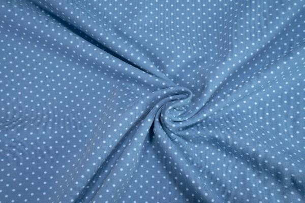 Jersey little Darling hellblaue mini Punkte auf mittelblau Baumwoll Jersey