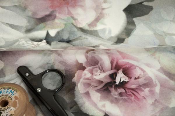 Jersey Stenzo Pfingstrosen zart rosa auf hellgrau Baumwoll Jersey