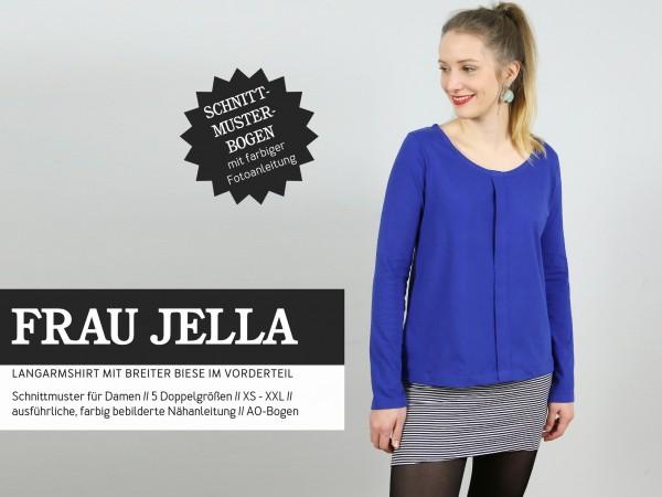 FRAU JELLA • Langarmshirt mit breiter Biese, Papierschnitt, Deckblatt
