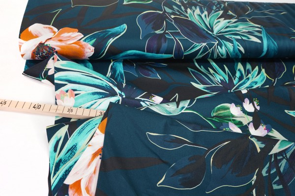 Baumwollsatin • Stretch • Tulips and Flowers • dunkelblau
