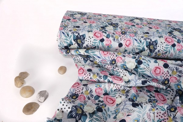Baumwoll Jersey Blumen auf grau by Fräulein von Julie