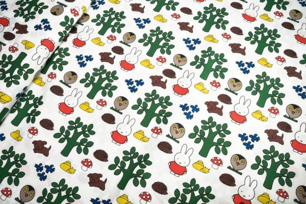 Lizenz Baumwollstoff Miffy® in the woods im Wald Mercis bv©