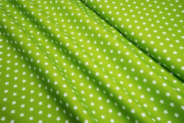 Baumwollstoff Sterne weiß auf apfelgrün