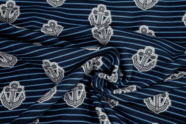 Jersey Anker auf dunkelblau hellblau gestreift Baumwoll Jersey